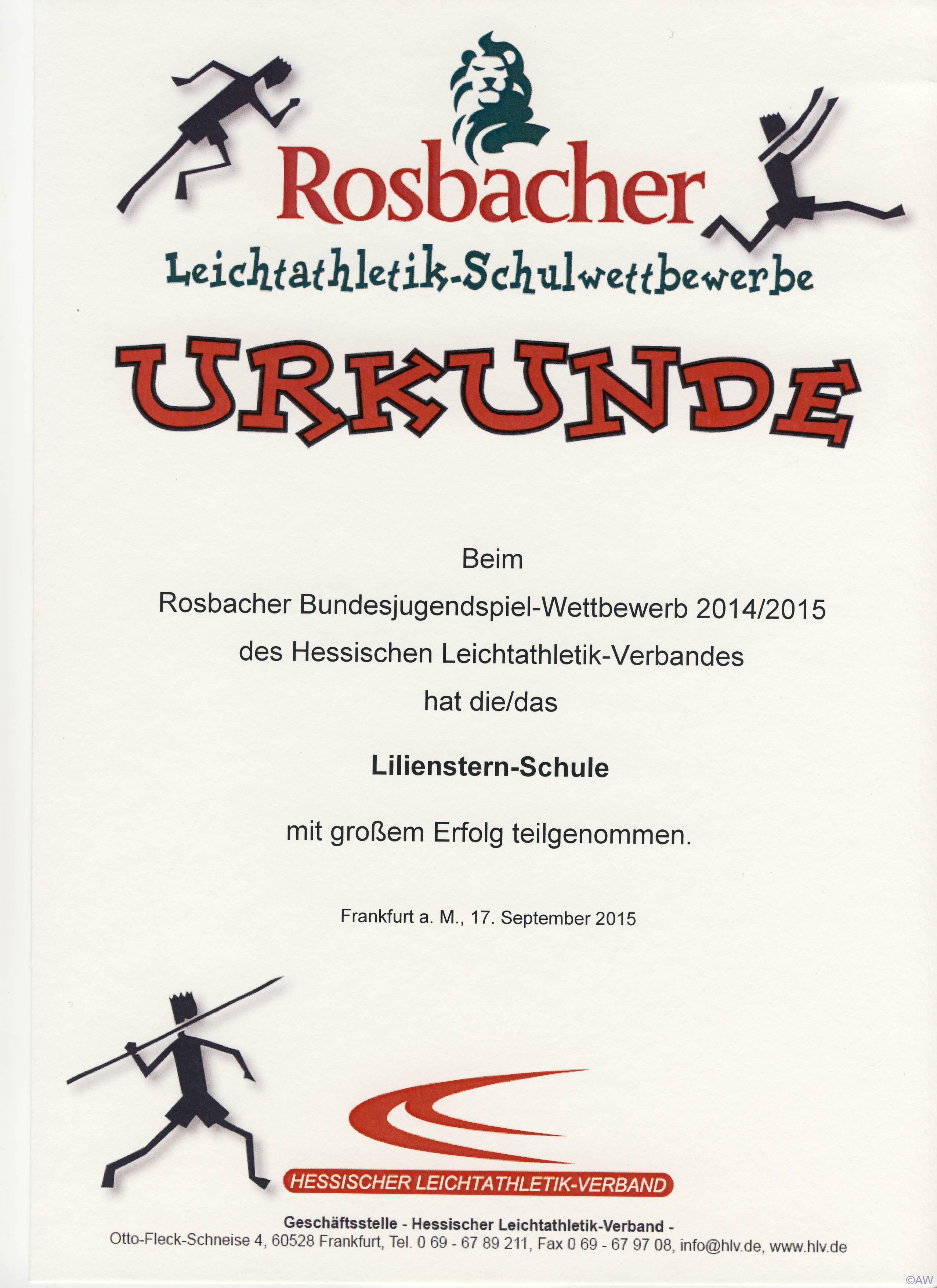 Rosbacher-Schulwettbewerbe 2014/15